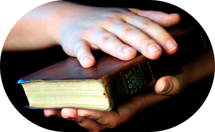 hand holding a Holy Bible
